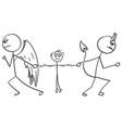 cartoon angel and devil fighting wrestling