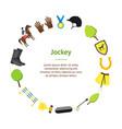 cartoon equipment jockey banner card circle vector image