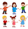 cartoon kids with different posing vector image vector image