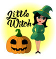 cartoon of a little witch for vector image