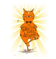 Cartoon red cat doing tree position of yoga vector image vector image