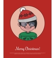 Christmas card with hipster Santa in red knitted vector image vector image