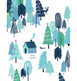 christmas greeting card with house in forest vector image