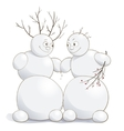 cute amorous snowmen vector image vector image