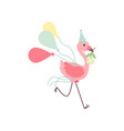 cute flamingo wearing party hat running vector image vector image