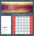 Desk Calendar for 2016 Year December Stationery vector image vector image