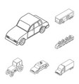 different types of transport outline icons in set vector image