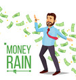 dollar rain businessman manager and under vector image