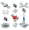 drone quadcopter isometric icon set vector image