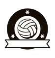 gray scale emblem with volleyball ball and ribbon vector image vector image