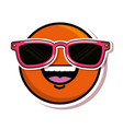 happy face emoji with sunglasses vector image