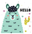 hello card with a cute llama colorful print for vector image