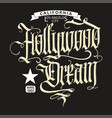hollywood t-shirt vector image vector image