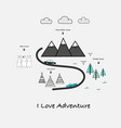 i love adventure typography with car bear and tent vector image