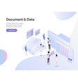 landing page template documents and data vector image vector image