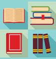 library books icon set flat style vector image vector image