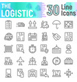logistic line icon set delivery symbols vector image vector image