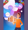 man hold new year present merry christmas holiday vector image