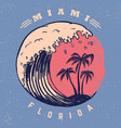 miami poster template with lettering and palms vector image vector image