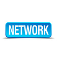 Network blue 3d realistic square isolated button vector image