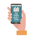 online education concept - hand holding mobile vector image
