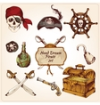 Pirates colored icons set vector image vector image
