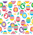 seamless pattern with easter eggs flowers leafs vector image vector image