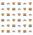 Seamless pattern with rainbow heart and flag for vector image vector image
