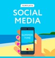 social media template smart phone hands hold vector image vector image