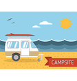 summer beach caravan trailer camping landscape vector image