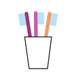 Tooth brushes in glass clean bath dent design