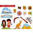 travel to australia a collection of colorful vector image