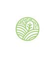 tropical plant green leaves logo round bio emblem vector image vector image