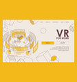 vr headset for statistics graphs and diagrams vector image