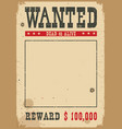 wanted poster western on white vector image vector image