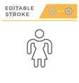 woman editable stroke line icon vector image vector image