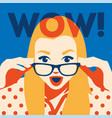 wow face surprised woman holding sunglasses in vector image