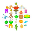 yoga center icons set cartoon style vector image vector image