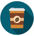 Flat design modern of coffee icon with long shadow vector image