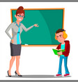 angry teacher at the blackboard the child at desk vector image