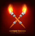 antique torches realistic background vector image vector image
