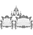 baroque armchair and chandelier set with luxurious vector image vector image