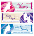 beauty salon banners set with beautiful vector image vector image