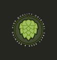 beer hop vintage logo on dark background vector image vector image