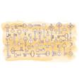big collection doodle vintage keys vector image