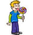boy with lollipop cartoon vector image