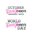 breast cancer awareness ads poster set vector image