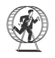 businessman run in hamster wheel sketch vector image