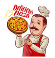 chef with pizza in hand pizzeria fast food vector image