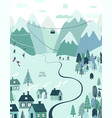 christmas holiday greeting card with rural scene vector image